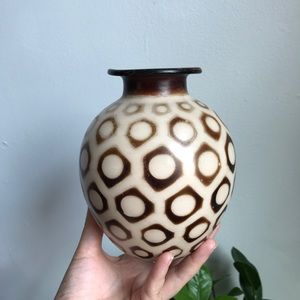 Handmade Patterned Brown Earthenware Ceramic Vase